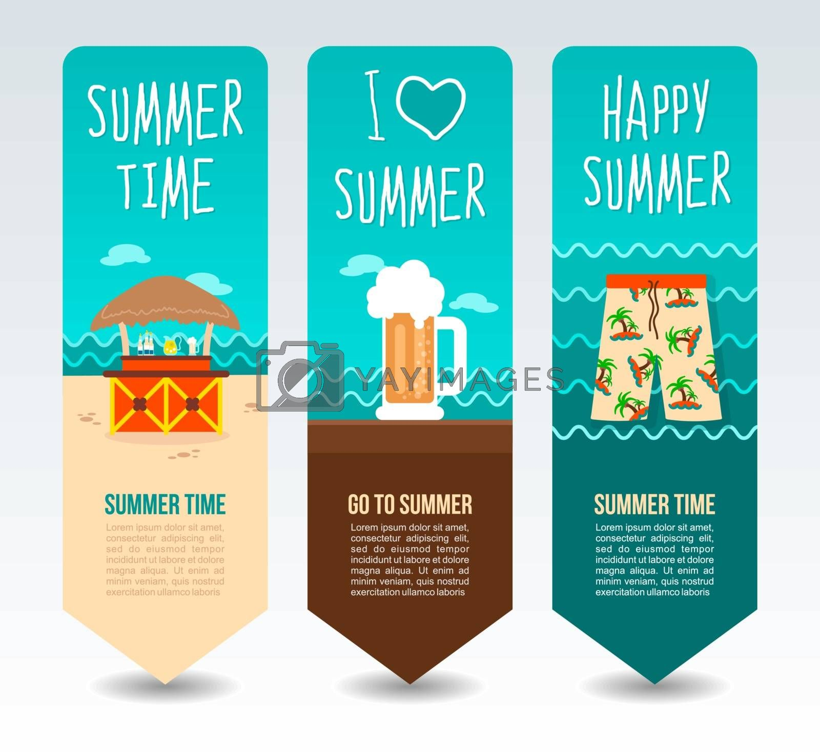Tropical bar bungalow, beach shorts and beer mug. Summer Travel and vacation vector banners. Summertime. Holiday