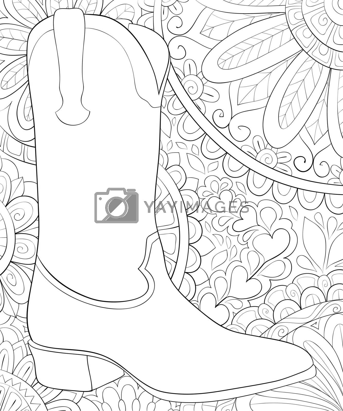 A cute boot on the abstract background with ornaments image for relaxing activity.Coloring book,page for adults.Zen art style illustration for print.Poster design.