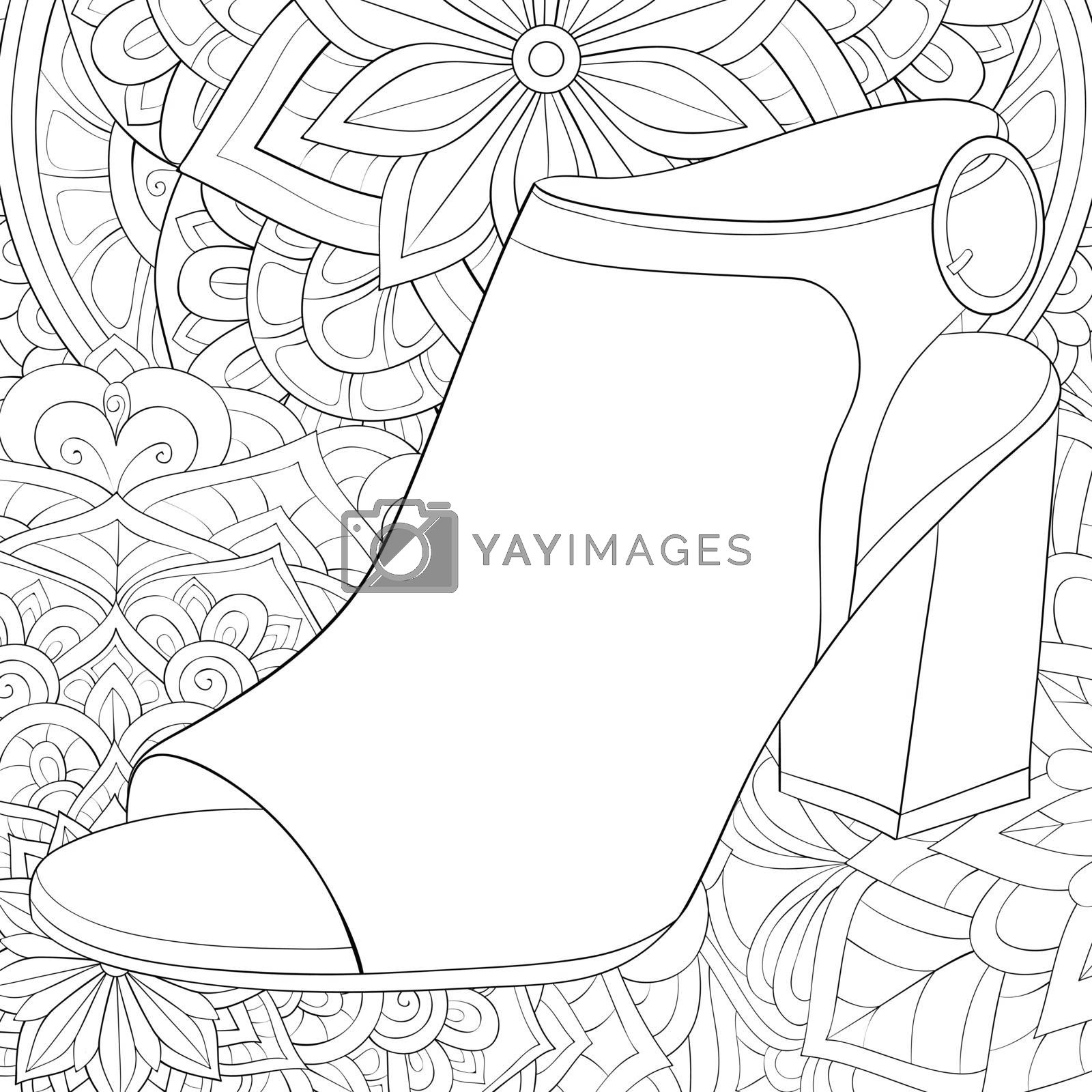A cute shoe on the abstract background with ornaments image for relaxing activity.Coloring book,page for adults.Zen art style illustration for print.Poster design.
