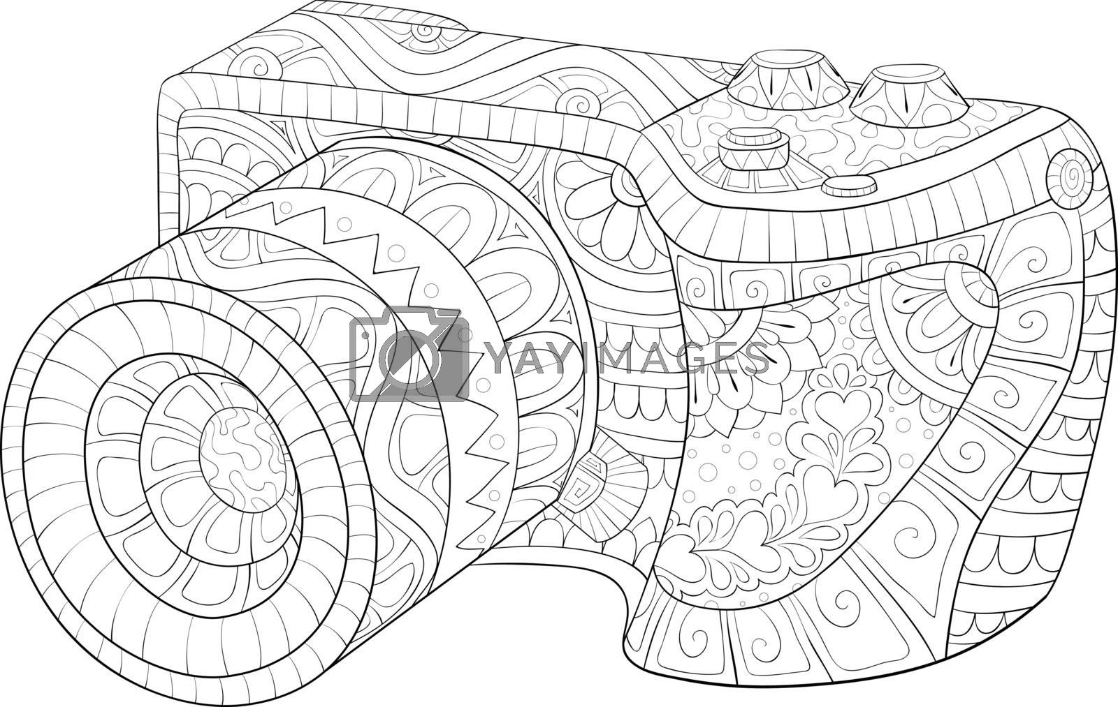 A cute camera with ornaments image for relaxing activity.Coloring book,page for adults.Zen art style illustration for print.Poster design.