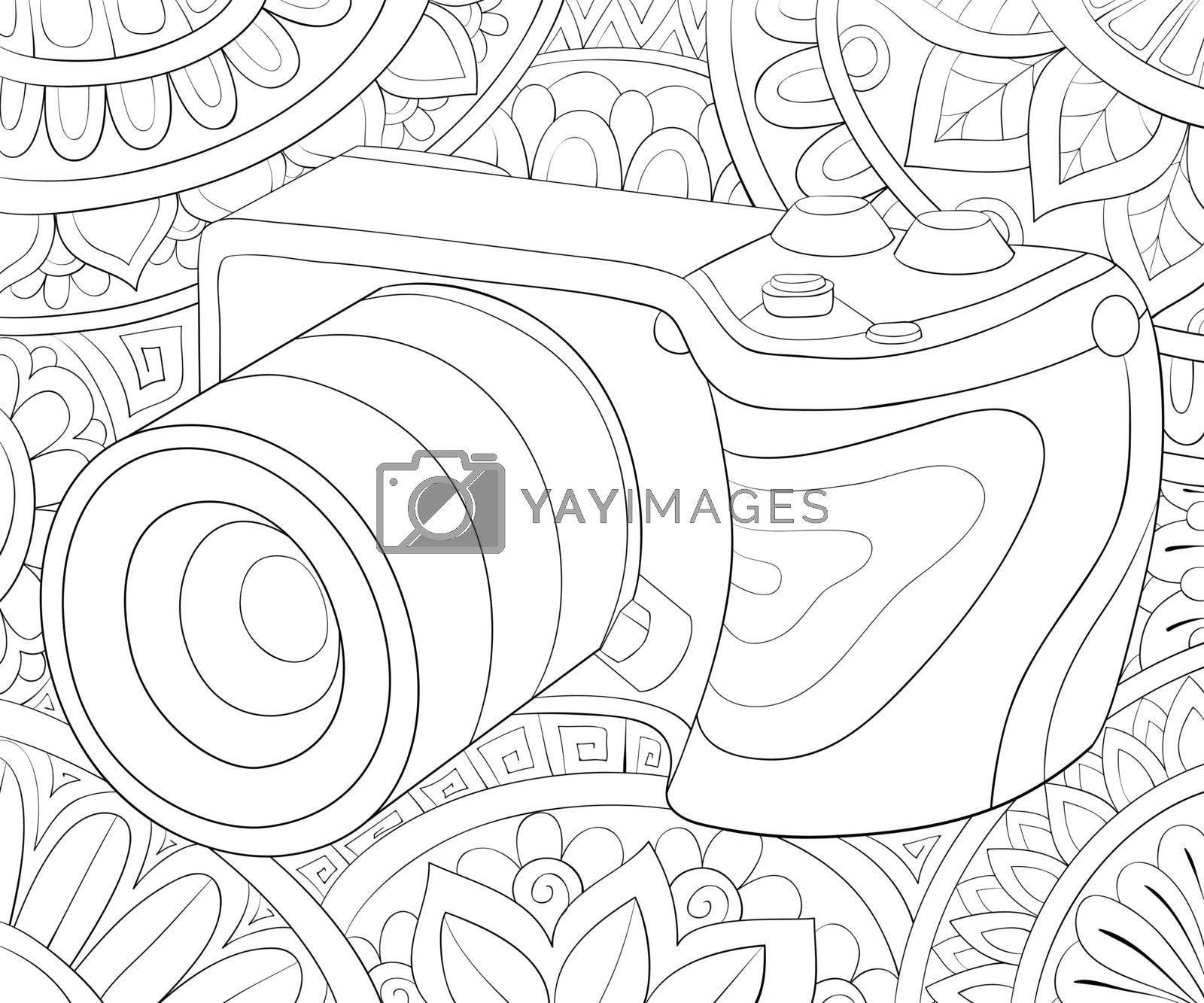 A cute camera  on the abstract background with ornaments image for relaxing activity.Coloring book,page for adults.Zen art style illustration for print.Poster design.