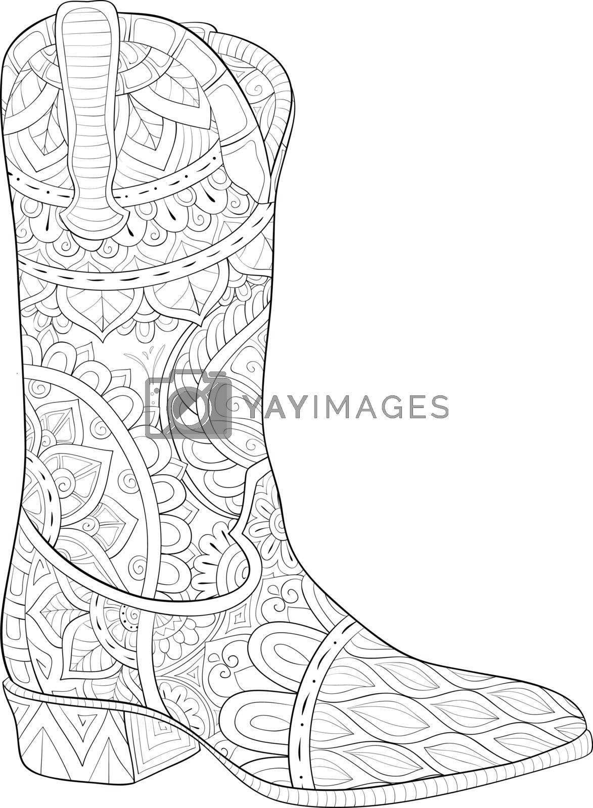 A cute boot with ornaments image for relaxing activity.Coloring book,page for adults.Zen art style illustration for print.Poster design.