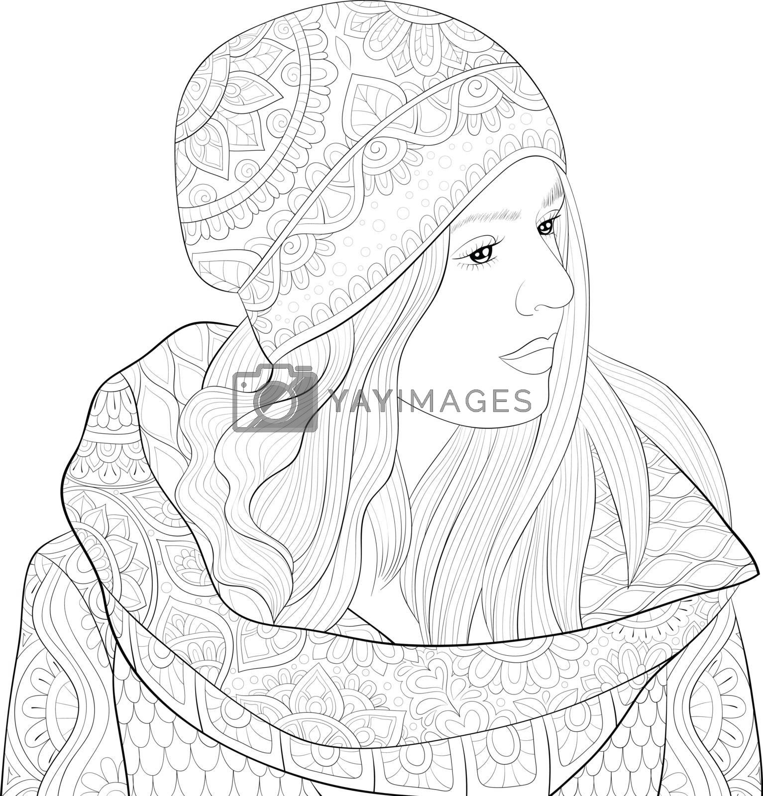 A cute girl wearing a cap with ornaments image for relaxing activity.Coloring book,page for adults.Zen art style illustration for print.Poster design.