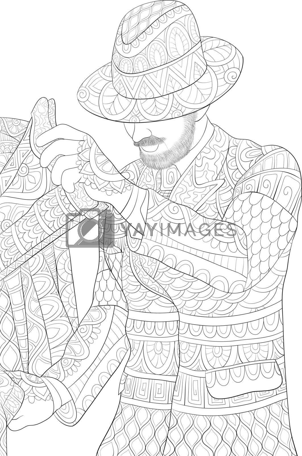 A cute man wearing a cap with ornaments image for relaxing activity.Coloring book,page for adults.Zen art style illustration for print.Poster design.