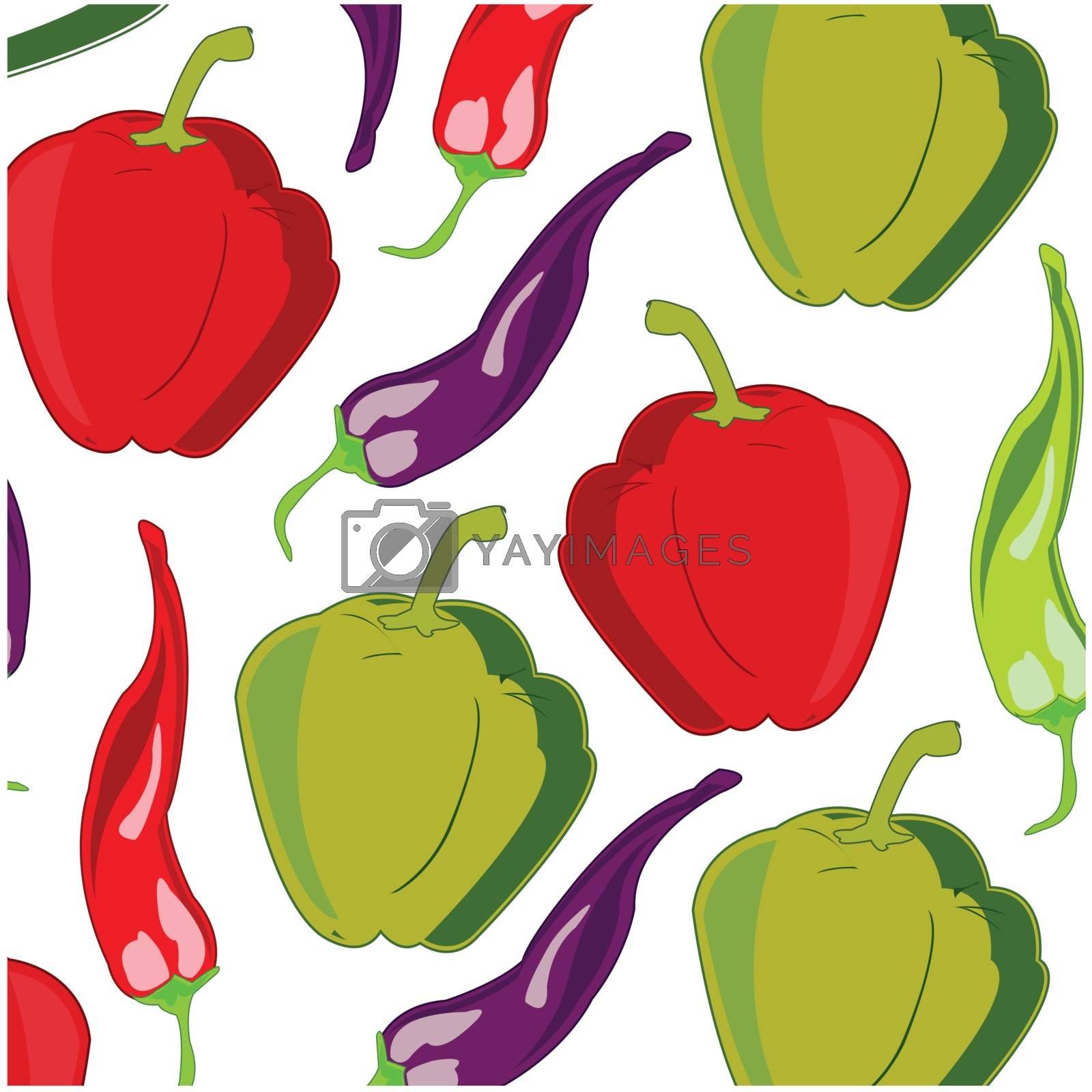Vector illustration sort sweet and sharp pepper decorative pattern