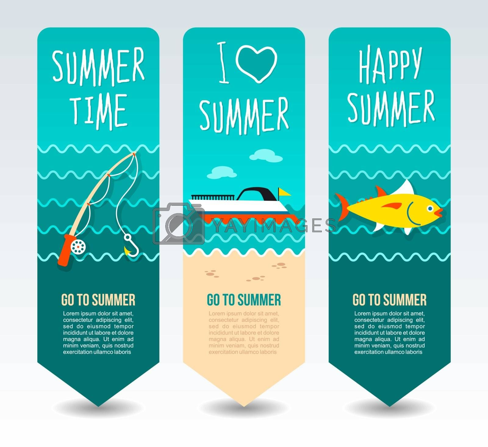 Motorboat, fishing rod and tuna. Summer Travel and vacation vector banners. Summertime. Holiday