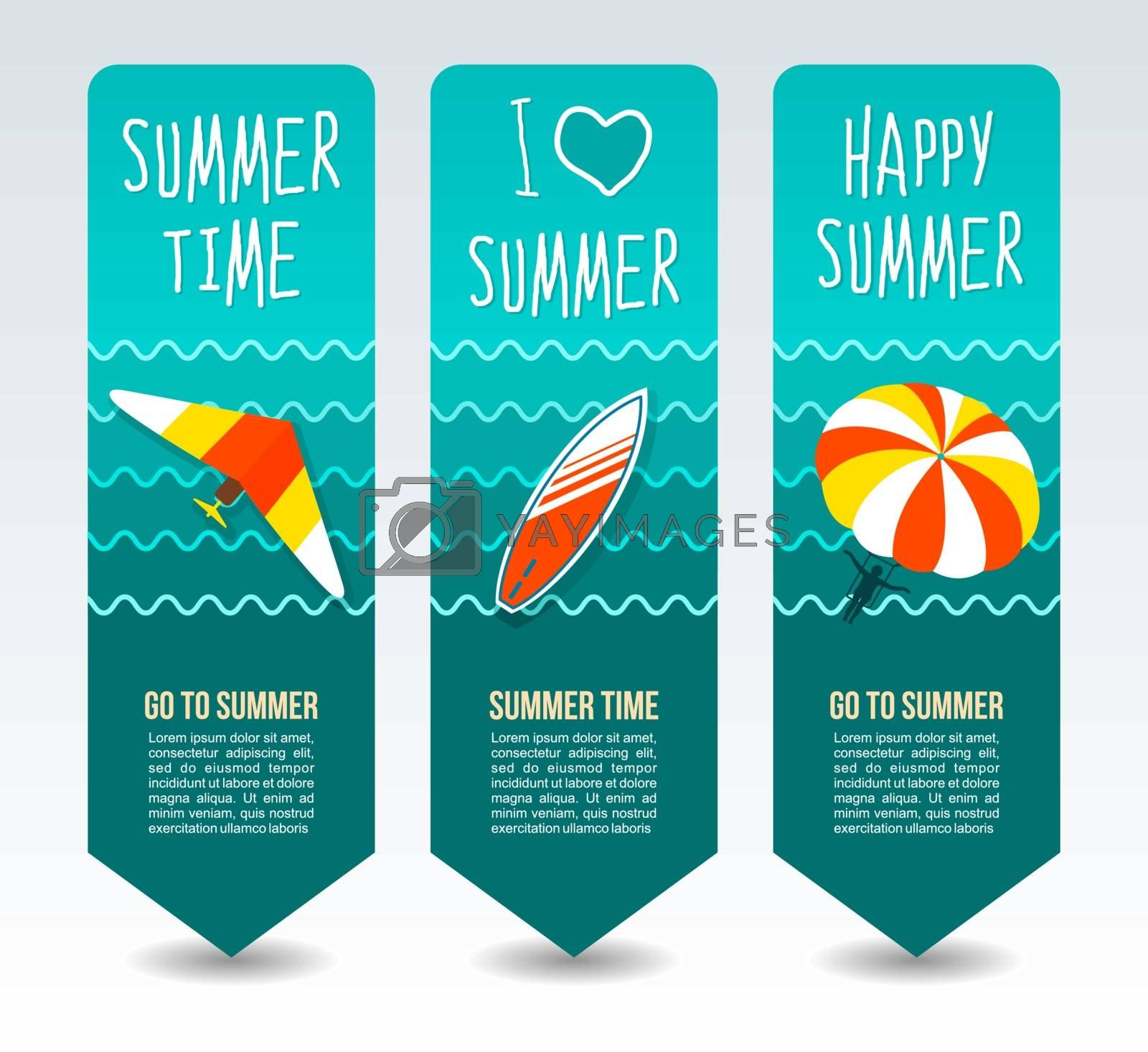 Parasailing, hang glider and surfboard. Summer Travel and vacation vector banners. Summertime. Holiday