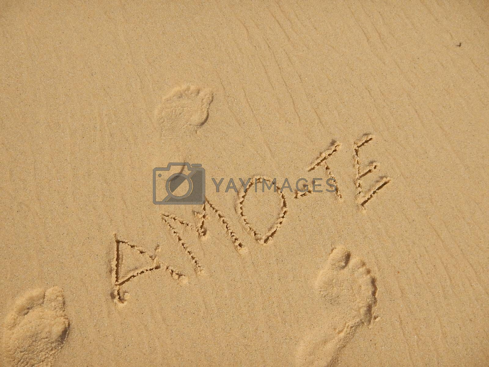 """Message of love in the sand, which he says """" I Love You """""""