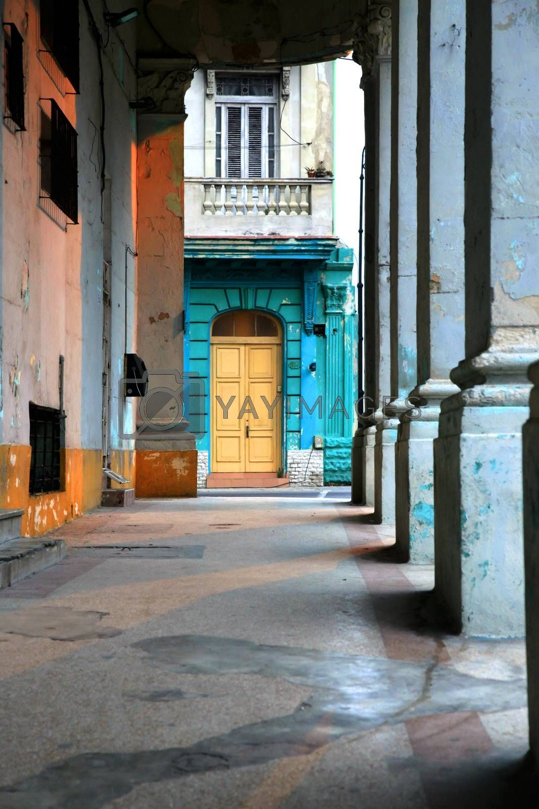 Typical portico under a colonial building in Old Havana, Cuba