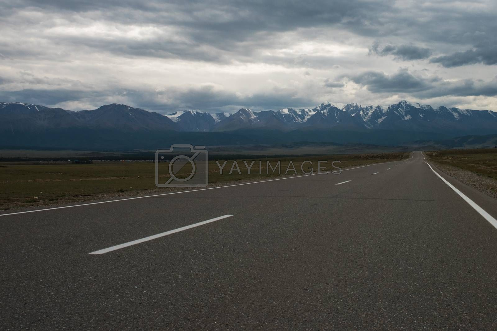 Empty route in Altai mountains on snowly peaks of North-Chui ridge of Altai mountains