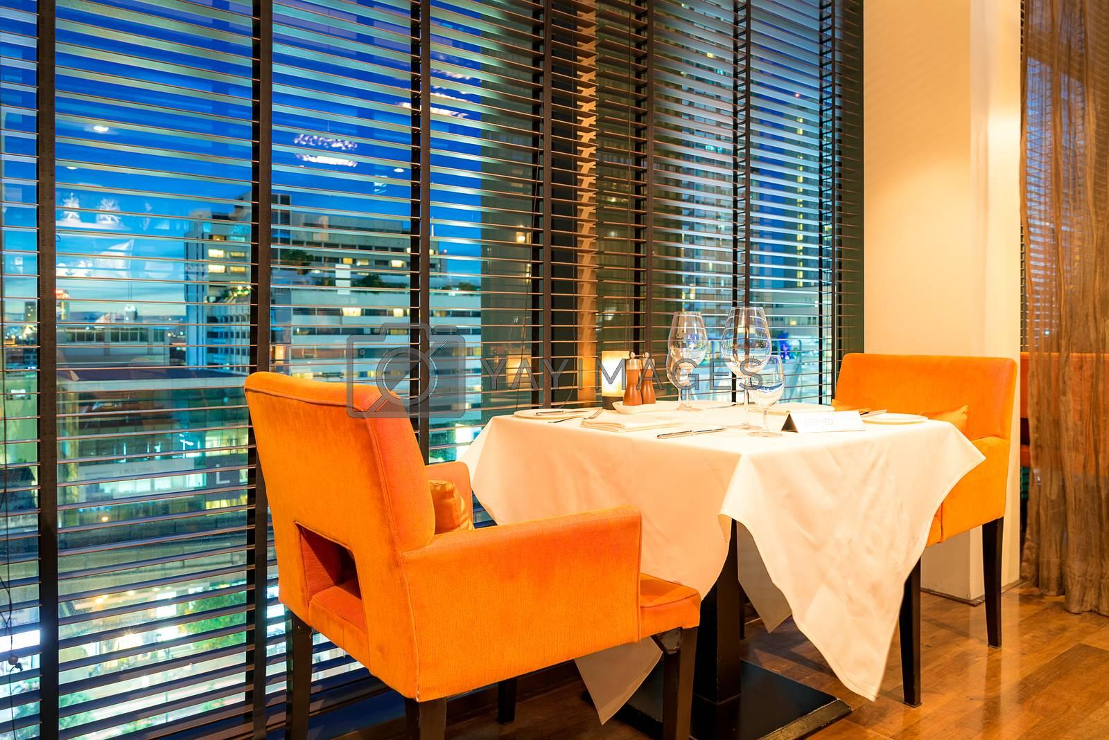 Table Setting interior in Restaurant