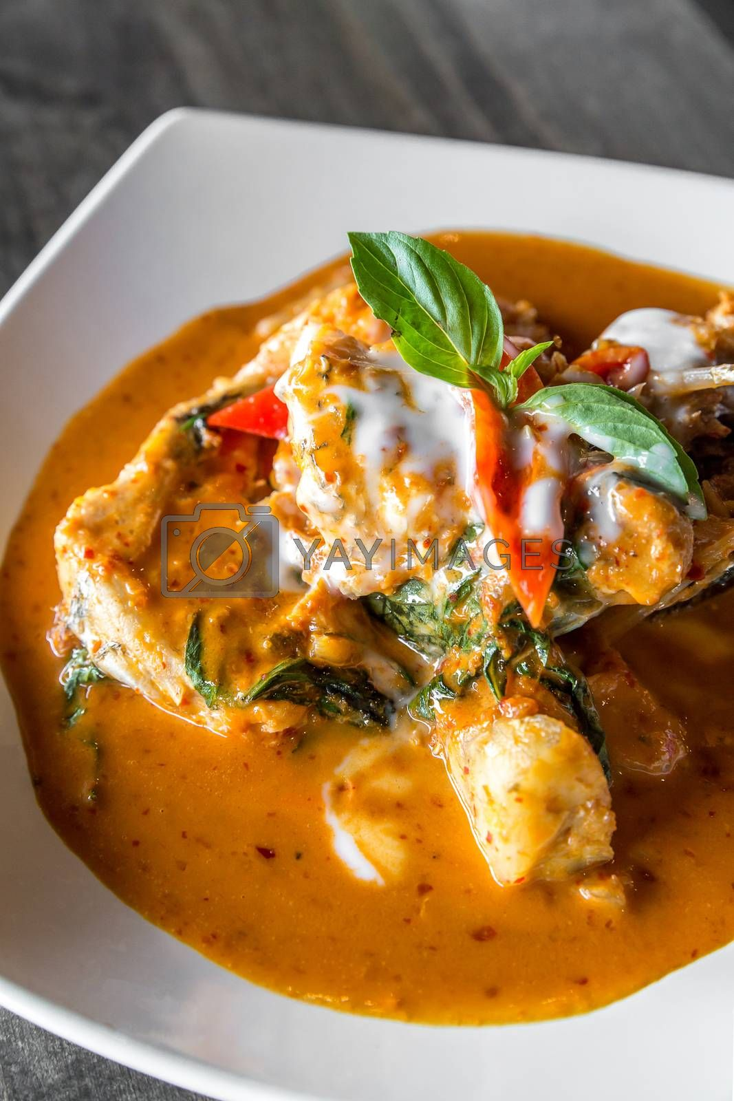 Fried grouper Fish with Red Curry Paste Chu Chee Pla