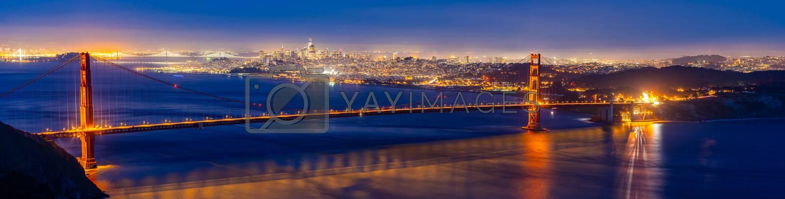 Golden Gate bridge in San Francisco California USA West Coast of Pacific Ocean Sunset Twilight panorama