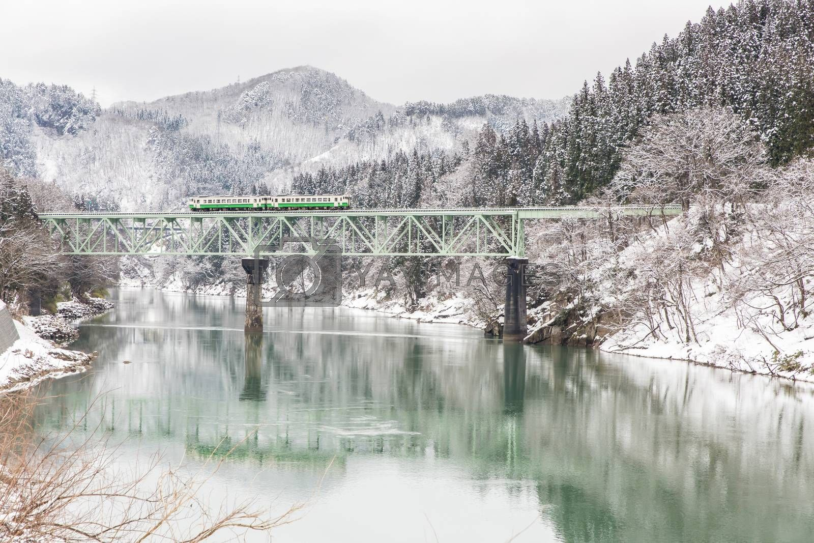 Train in Winter landscape snow on bridge