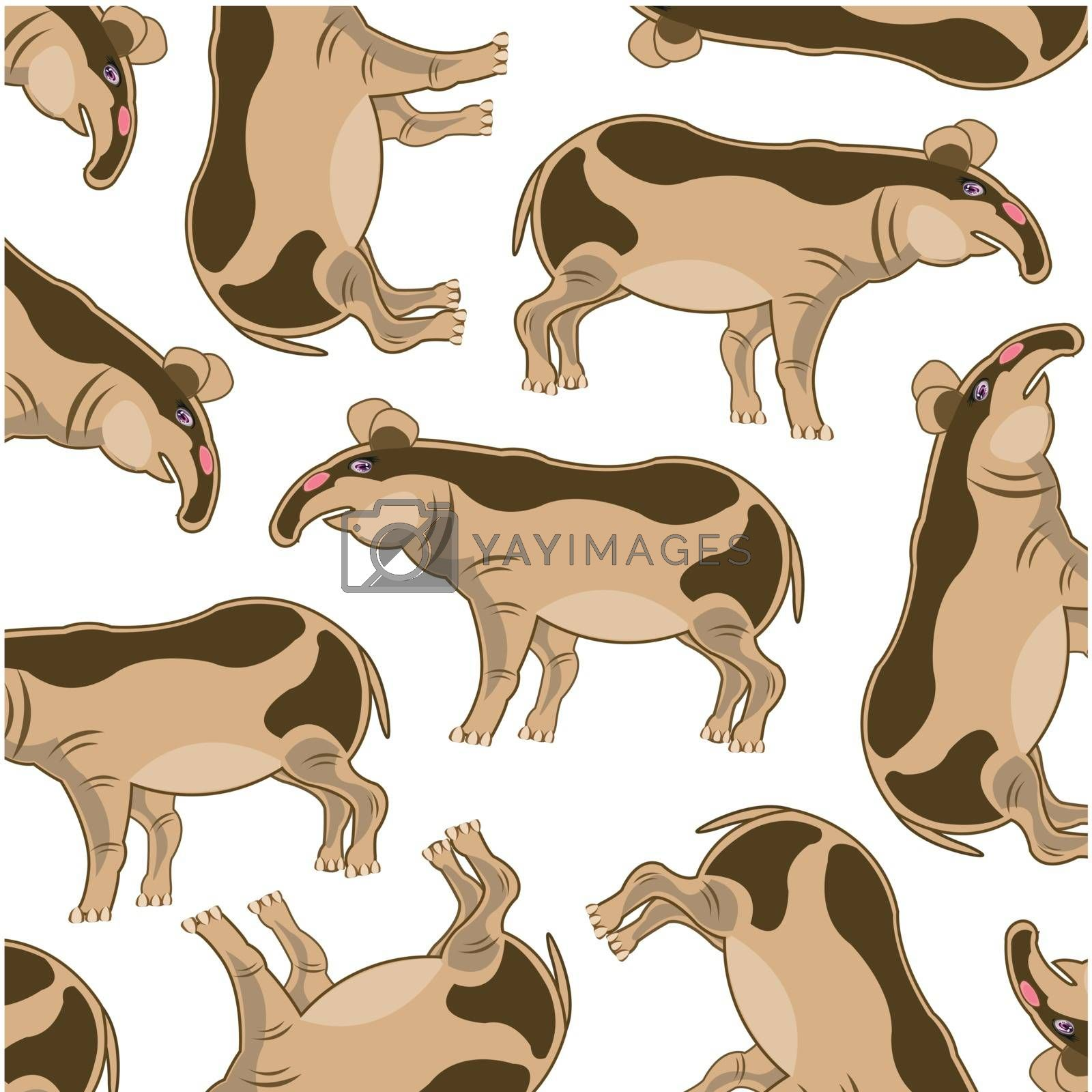 Animal tapir decorative pattern on white background is insulated