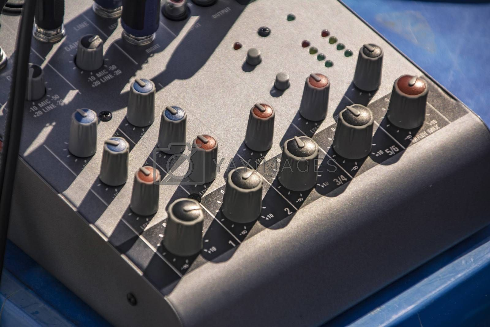 Two-channel audio mixer used in music production