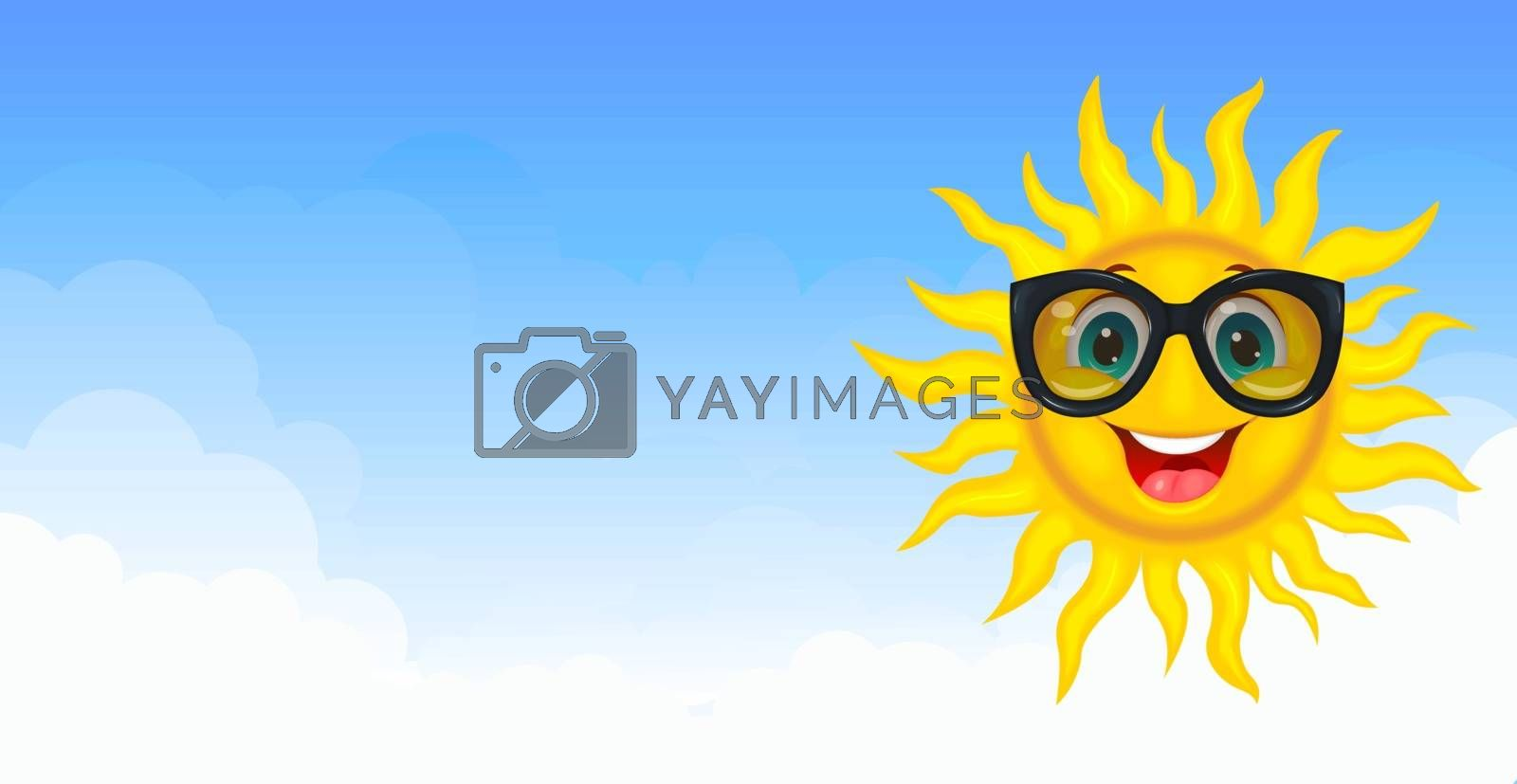Sun in sunglasses. A merry cartoon sun in protective glasses from the sun. A cheerful cartoon sun on a white background.