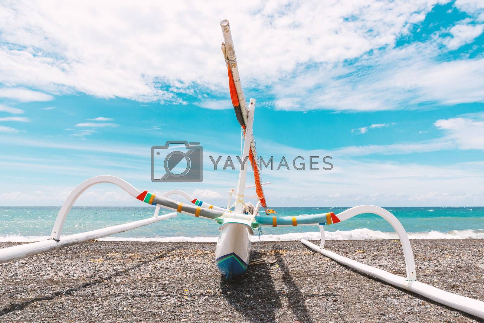 Traditional fishing boat called jukung on Amed beach in Bali, Indonesia