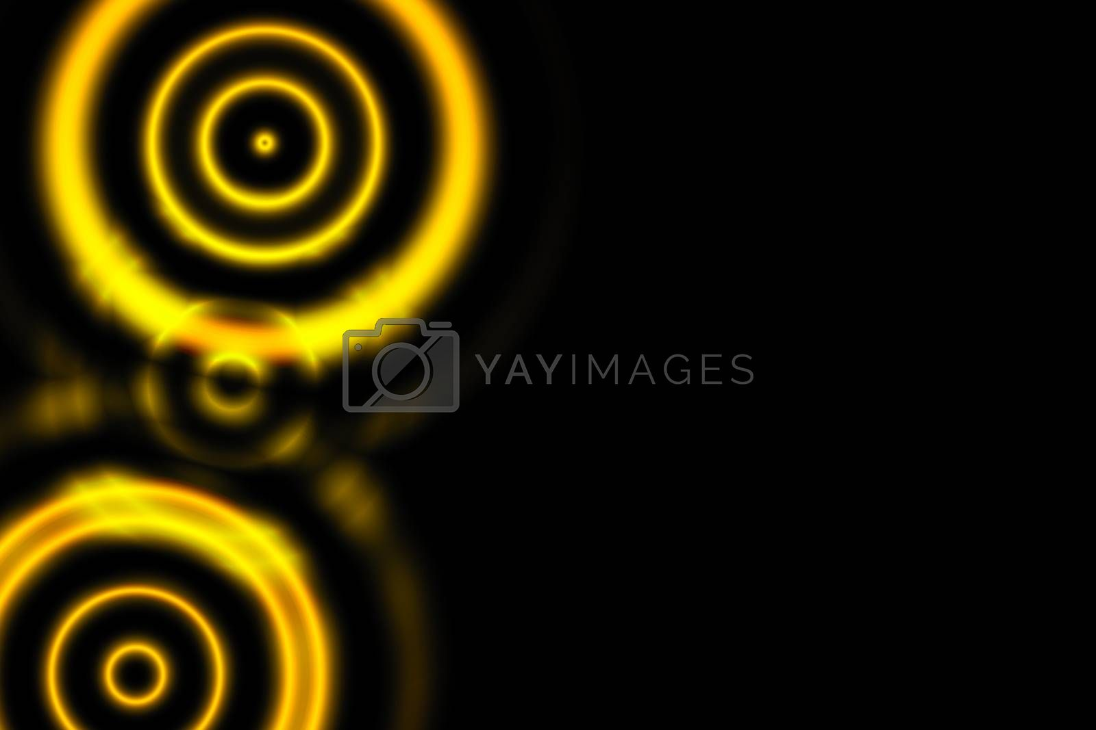 Orange overlapping circles with sound waves oscillating on black backdrop, abstract background
