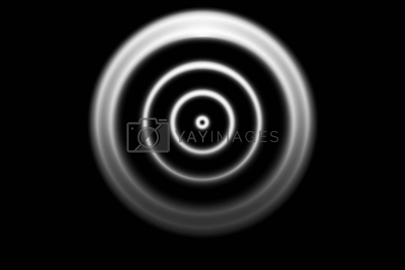 Abstract white circle with ring light on black background
