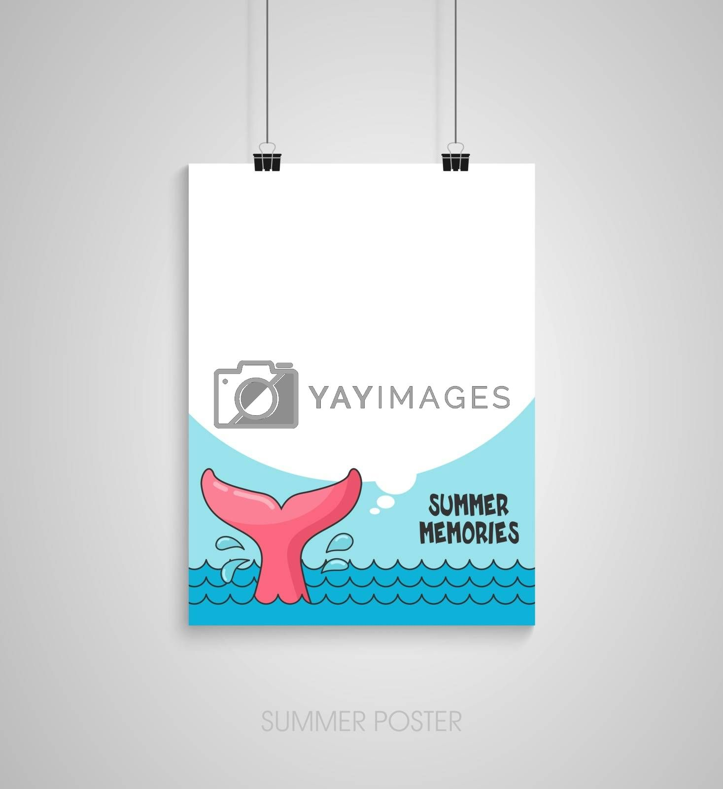 Summer flyer card with whale tail and text bubble. Summer memories. Journal cards. Vector illustrations for t-shirt, poster prints. Holiday, travel, vacation theme