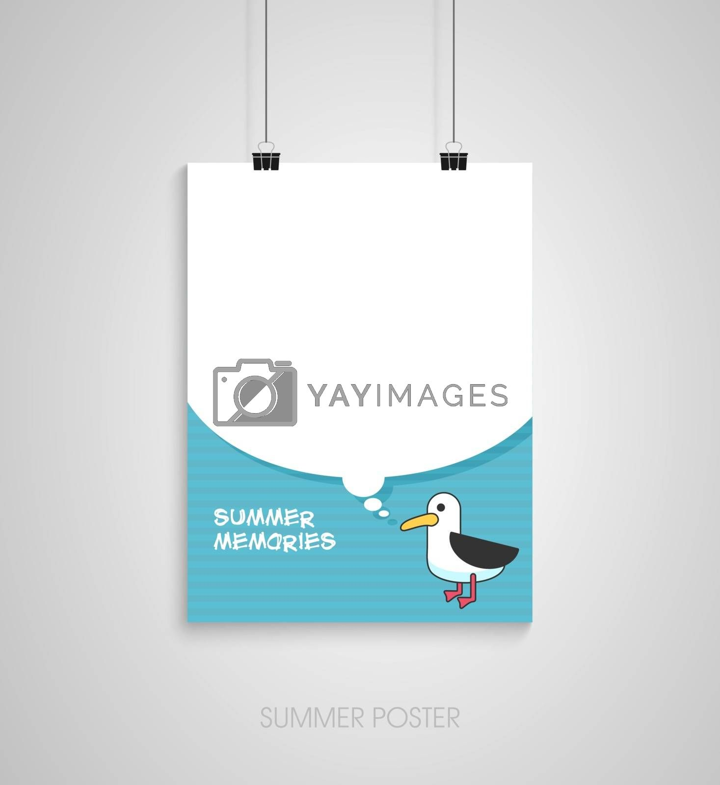 Summer flyer card with seagull and text bubble. Summer memories. Journal cards. Vector illustrations for t-shirt, poster prints. Holiday, travel, vacation theme