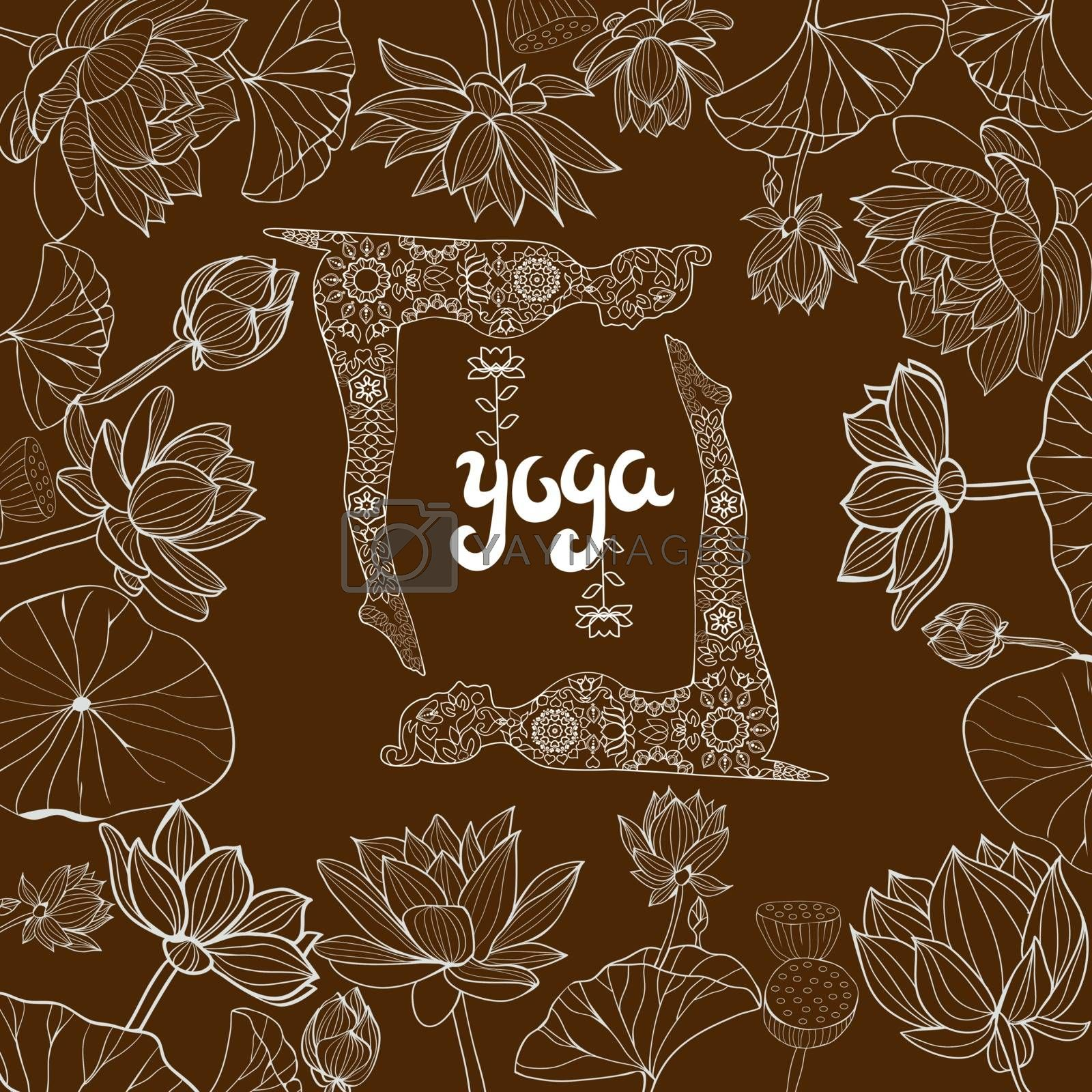floral frame of Lotuses flowers and llustration with Yoga Poses. by Margolana