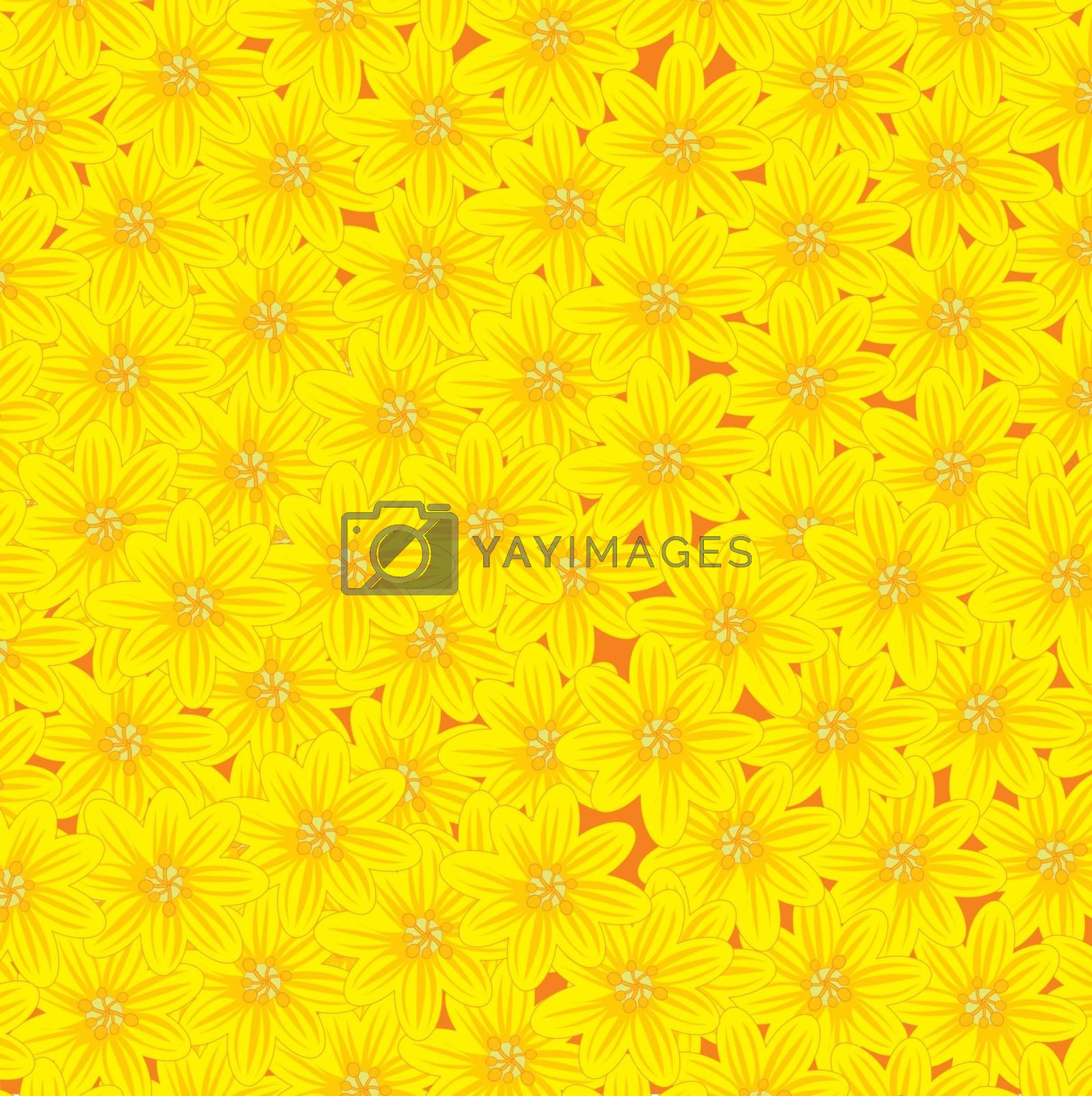 Vector illustration of the decorative background from yellow flower