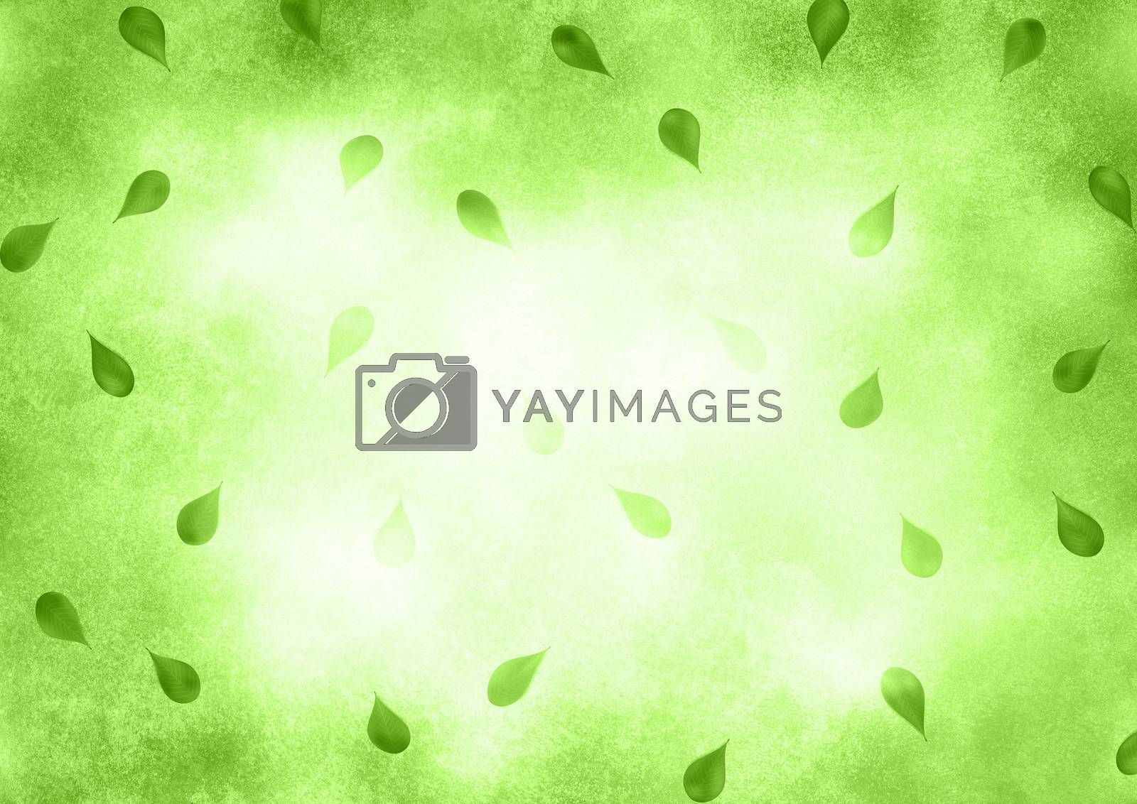 Abstract faded green background with leafs. by GraffiTimi