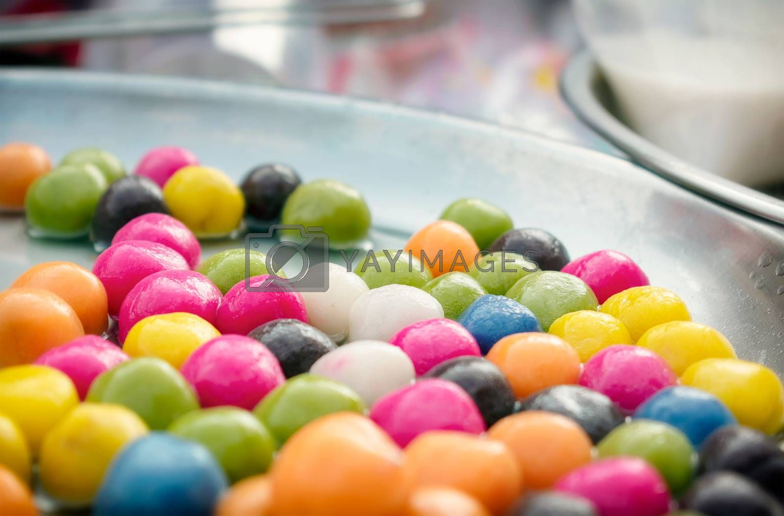 Traditional Desert of Colorful Sweet Glutinous Rice Ball Tang Yuan ready to be Served