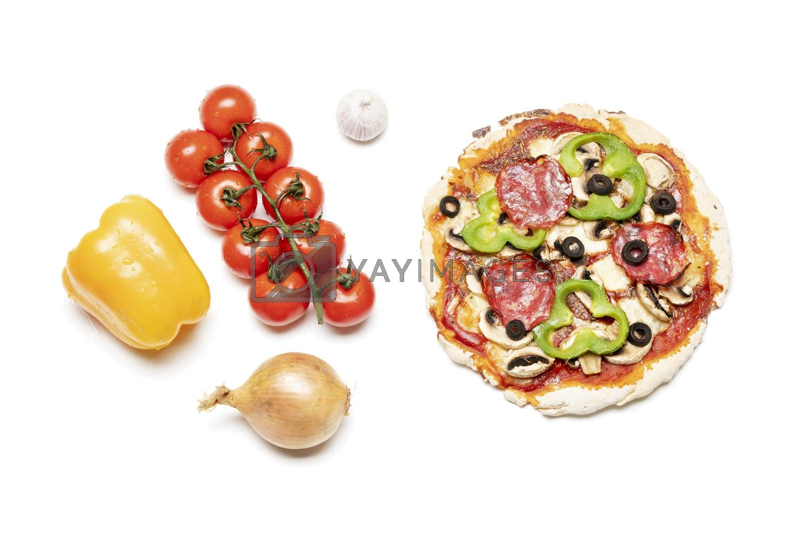 overview of a fresh pizza on white  by bernjuer