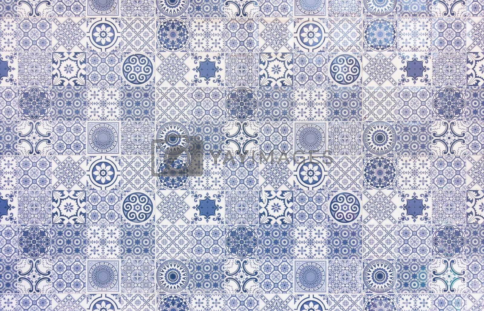 White and blue geometric azulejo tile wall texture or background