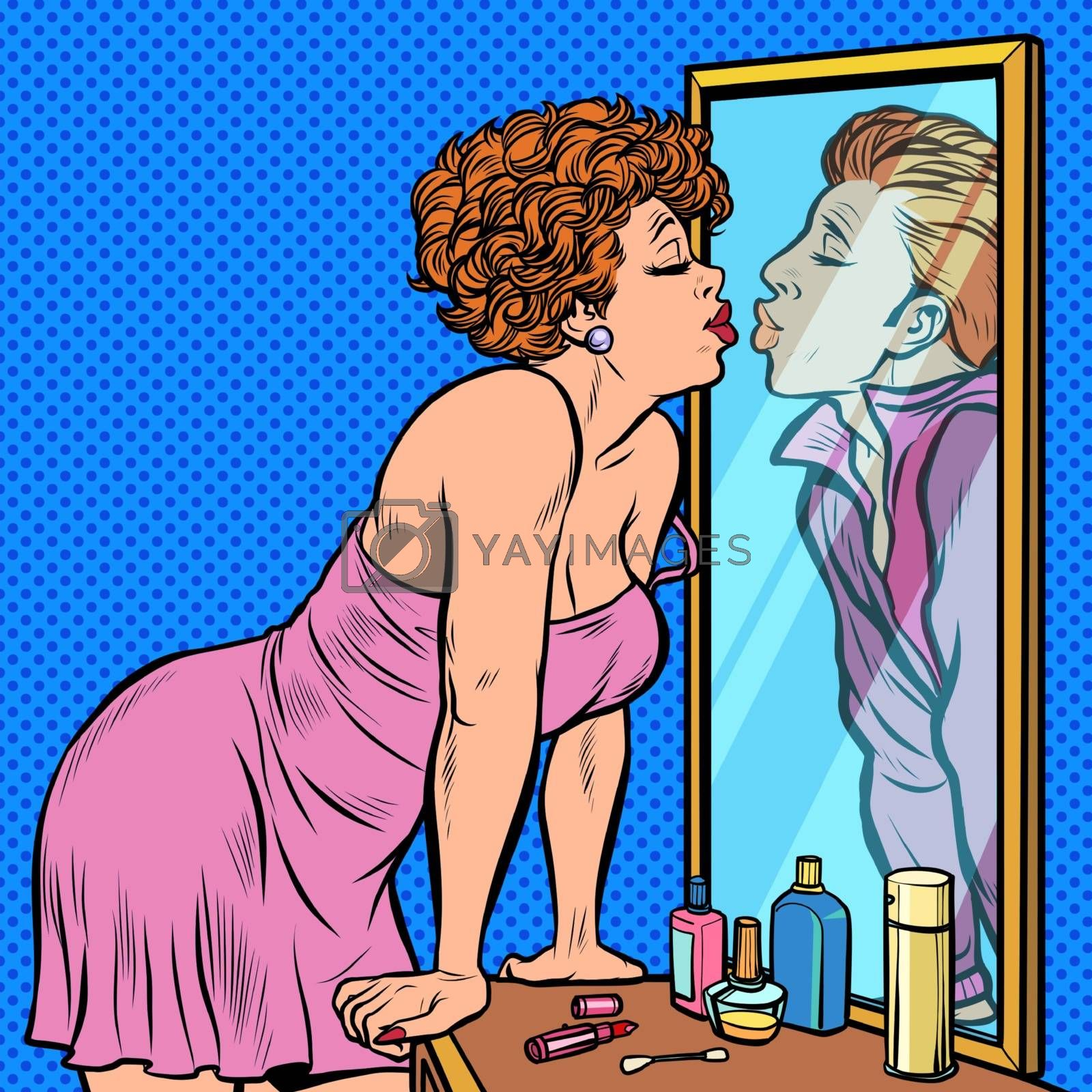 a woman kisses a man, the reflection in the mirror, dream by studiostoks