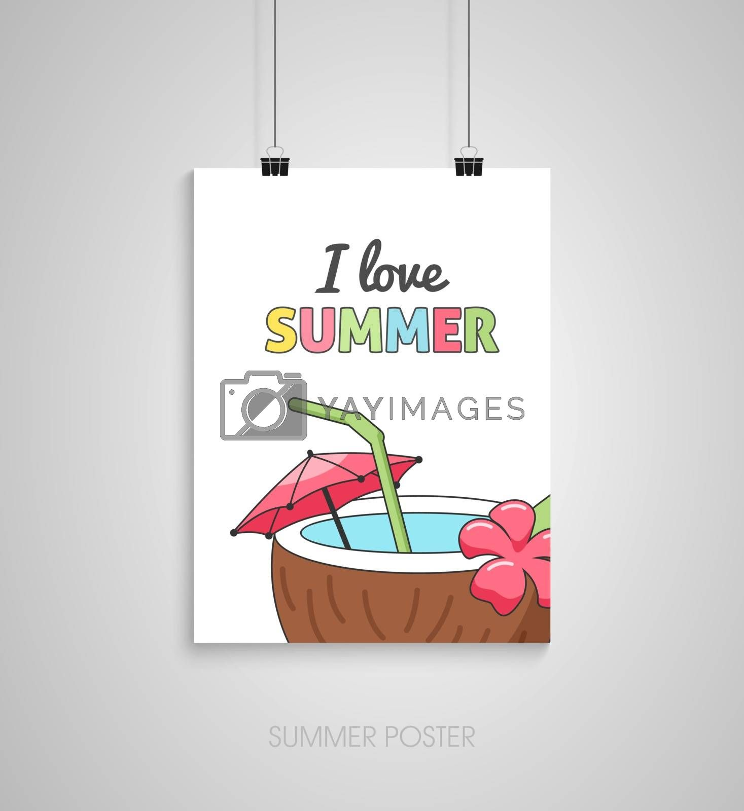 Summer flyer card with coconut beach tropical cocktail with straw. I love summer. Journal cards. Vector illustrations for t-shirt, poster prints. Holiday, travel, vacation theme