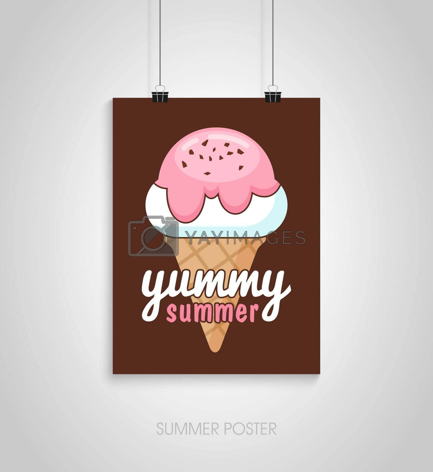 Summer flyer card with ice cream. Yummy summer. Journal cards. Vector illustrations for t-shirt, poster prints. Holiday, travel, vacation theme