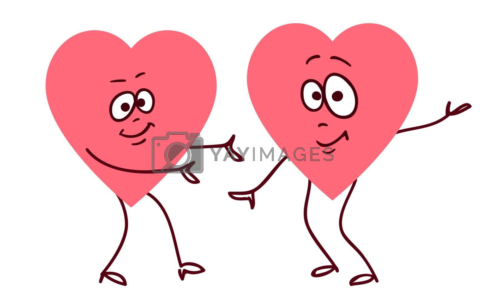 Pair of dancing hearts. Concept of friendship love support and help. Love or helth symbol. Don't be afraid i am with you.