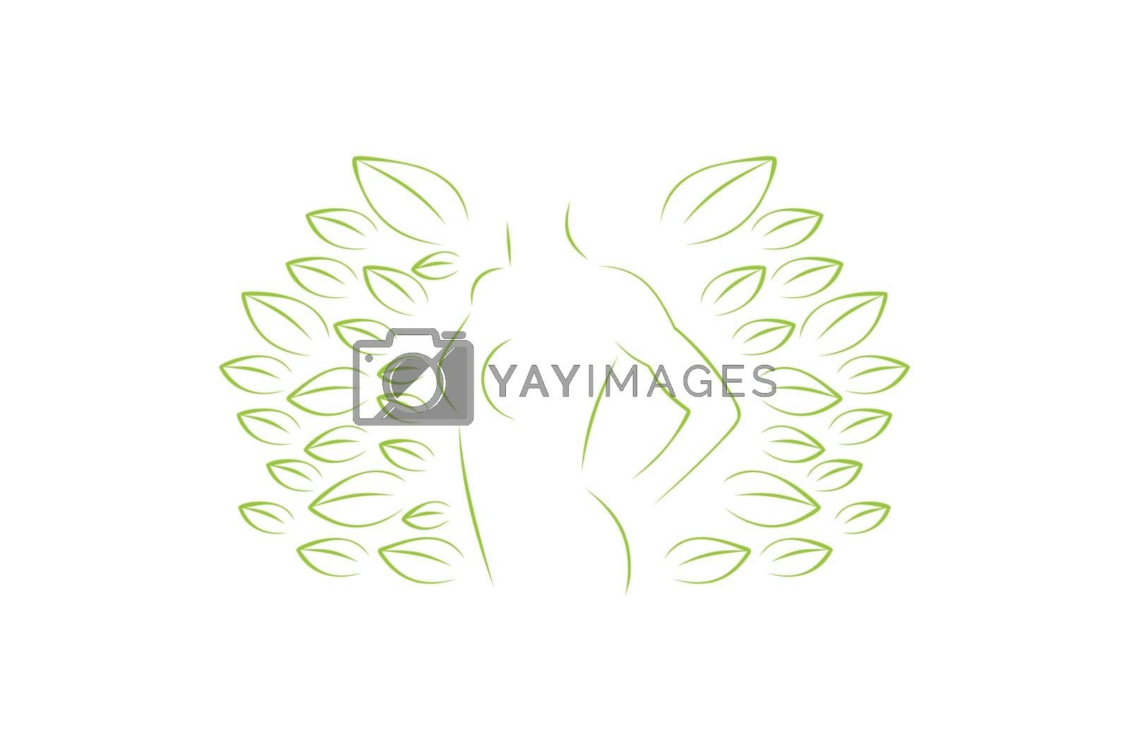 silhouette woman body and leaf, woman health logo Designs Inspiration Isolated on White Background