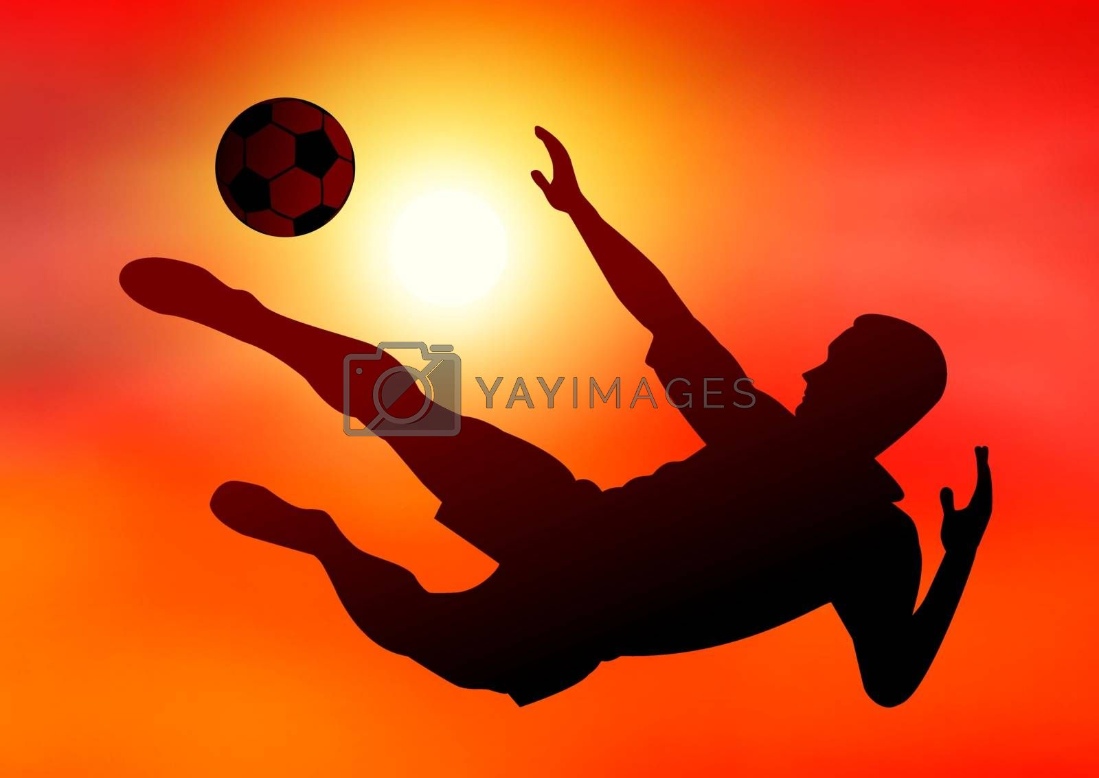 Silhouette of a football player with the ball on the background of the sunset. Footballer kicks the ball. Active athlete with the ball.