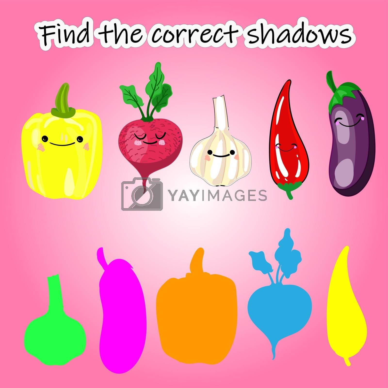 Find the right shade of vegetable. Educational game for children. Find the right shadow. Kids activity with cartoon vegetables... by bosonya