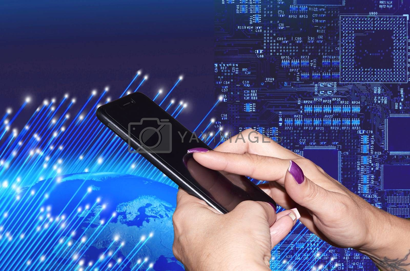 Woman's hands holding a mobile phone world background and circuits