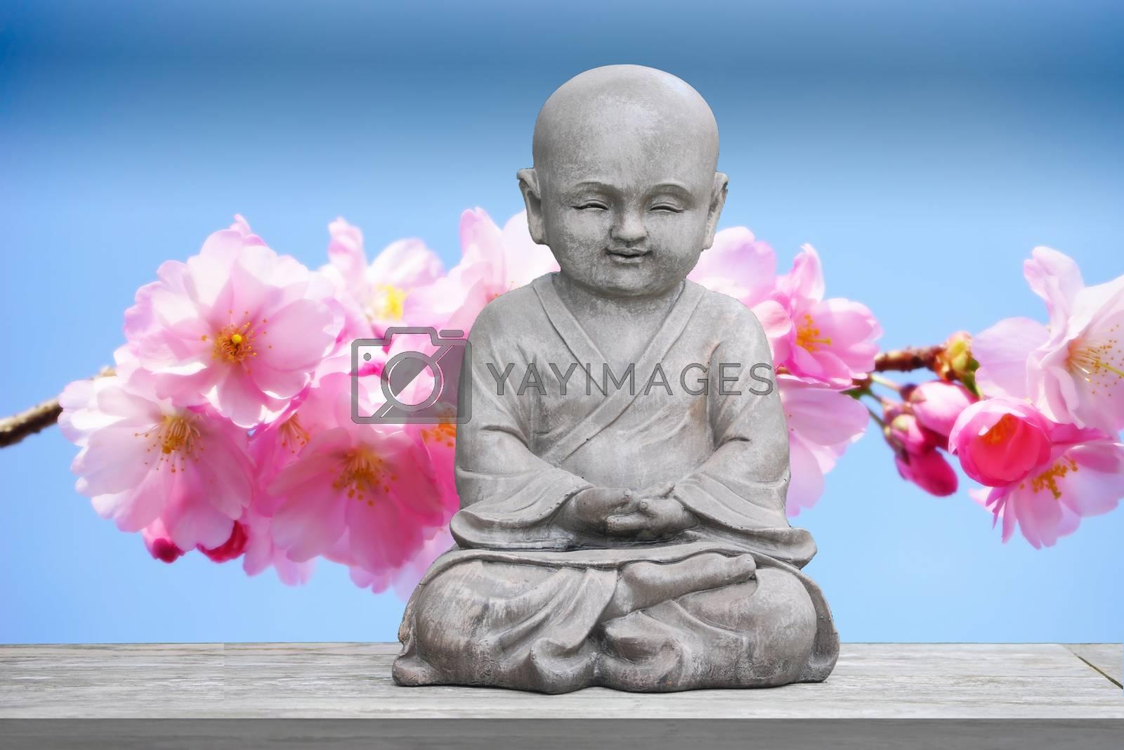 Buddha stone statue child cherry blossom background