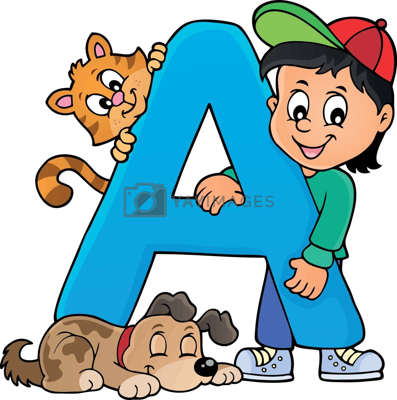 Boy and pets with letter A - eps10 vector illustration.