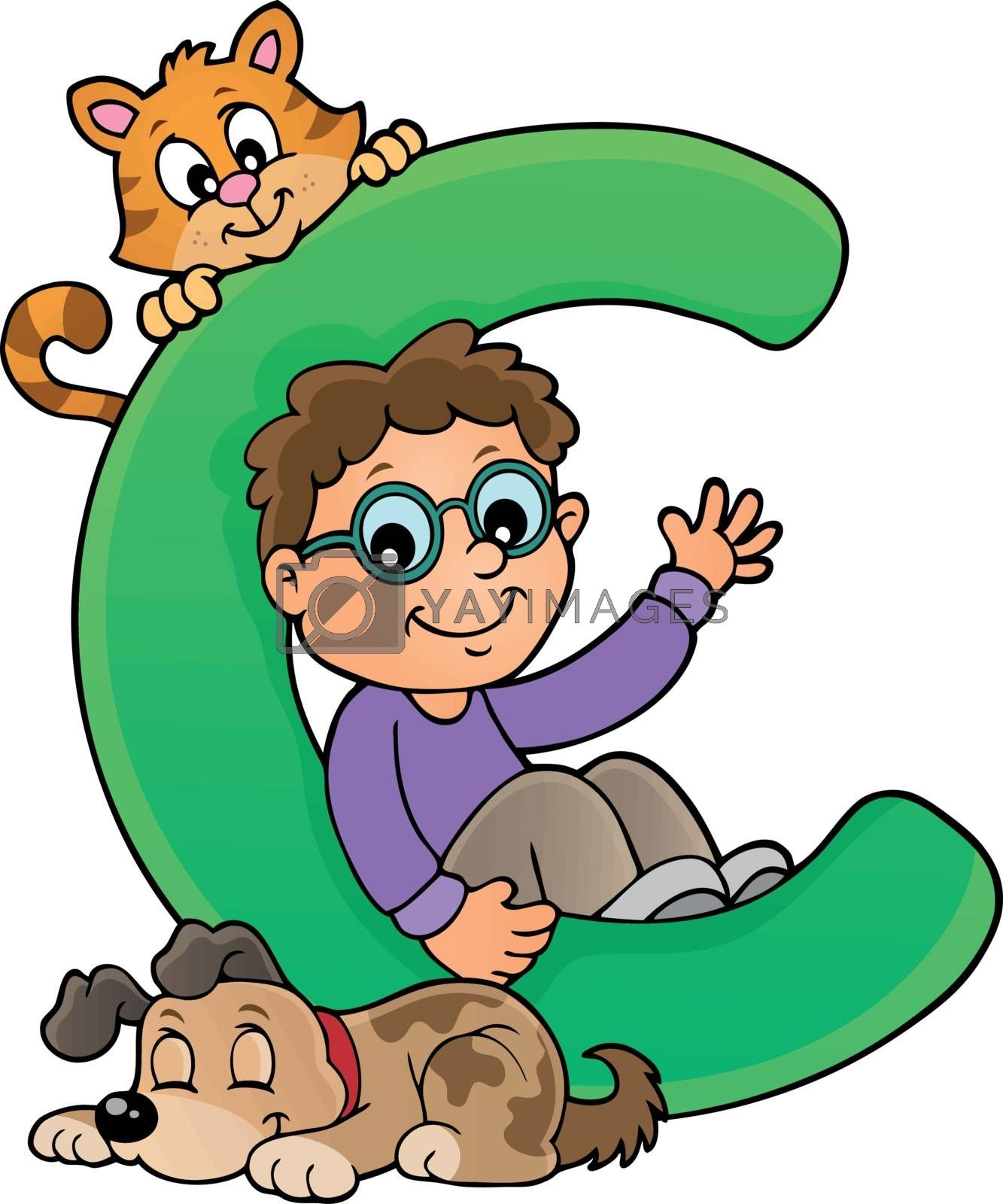 Boy and pets with letter C - eps10 vector illustration.