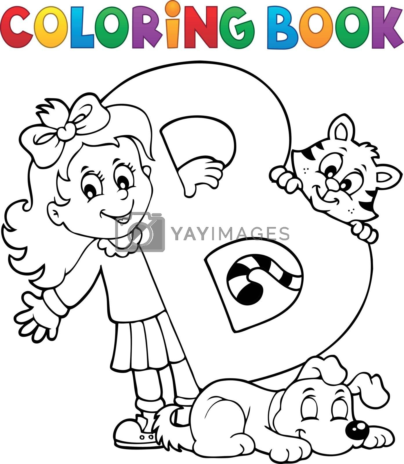 Coloring book girl and pets by letter B - eps10 vector illustration.