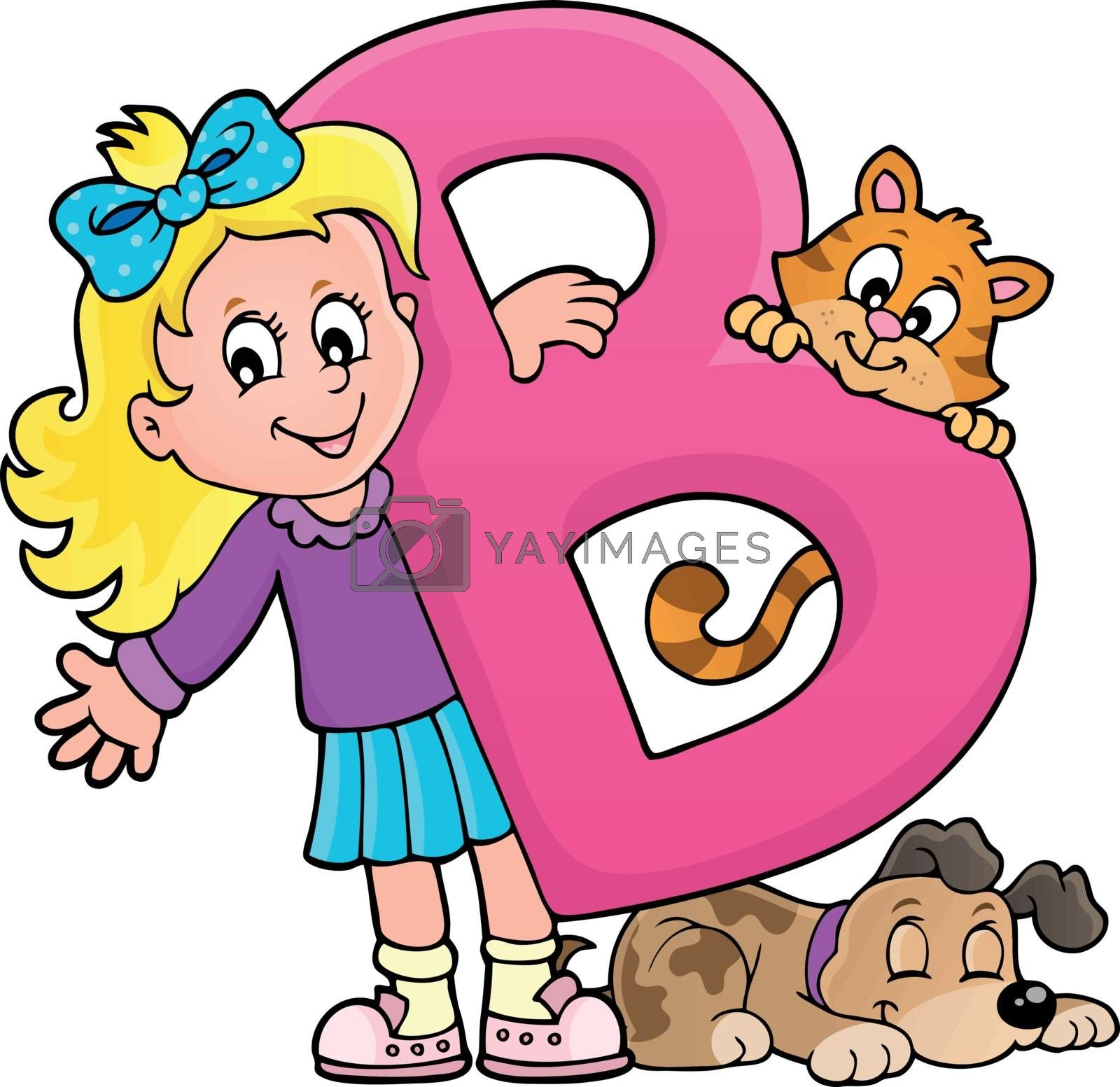 Girl and pets with letter B - eps10 vector illustration.