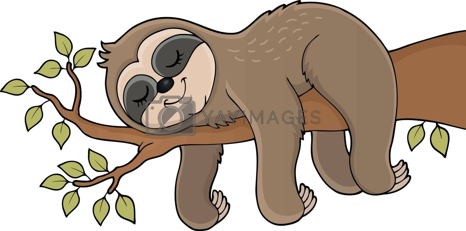 Sleeping sloth theme image 1 - eps10 vector illustration.