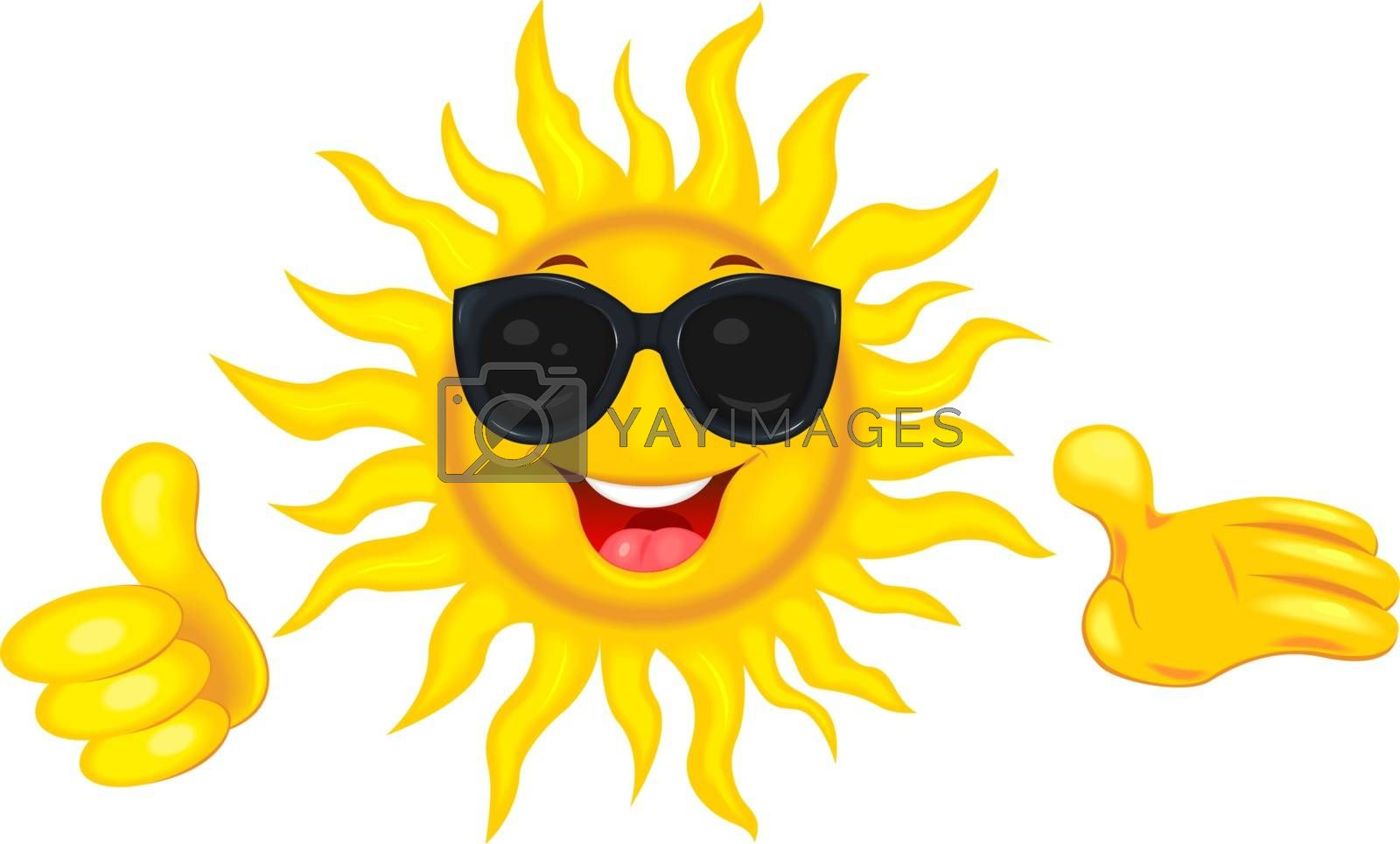 A merry cartoon sun in protective glasses from the sun. A cheerful cartoon sun on a white background. Smiling sun and hands with a finger raised up.