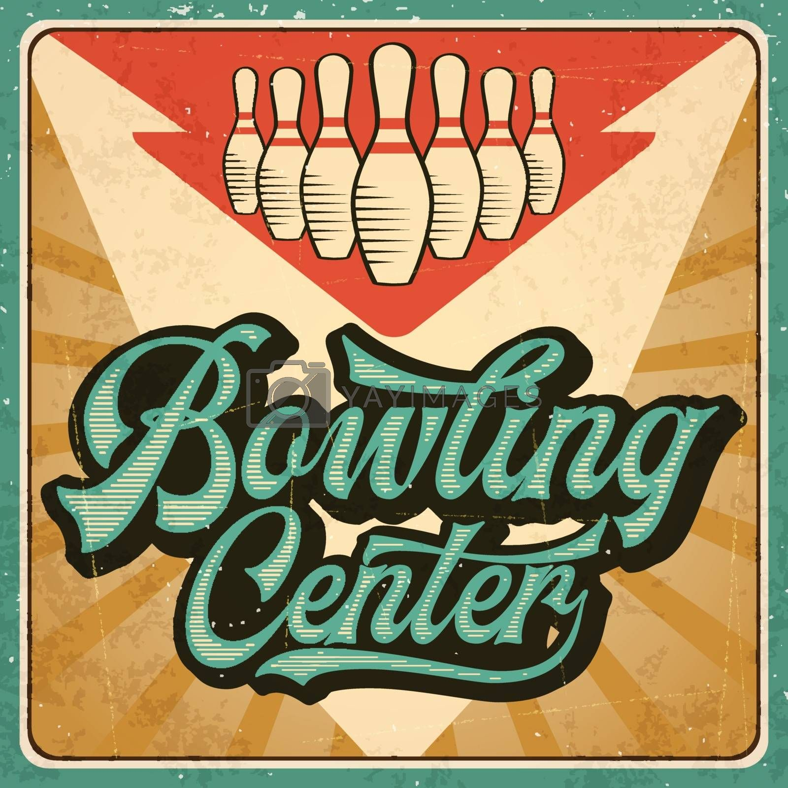 Retro advertising bowling poster. Vintage poster. Vector eps10