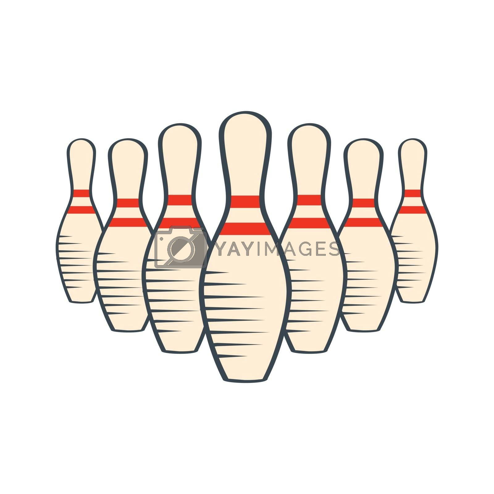 Retro bowling pins isolated on white background, vector eps10