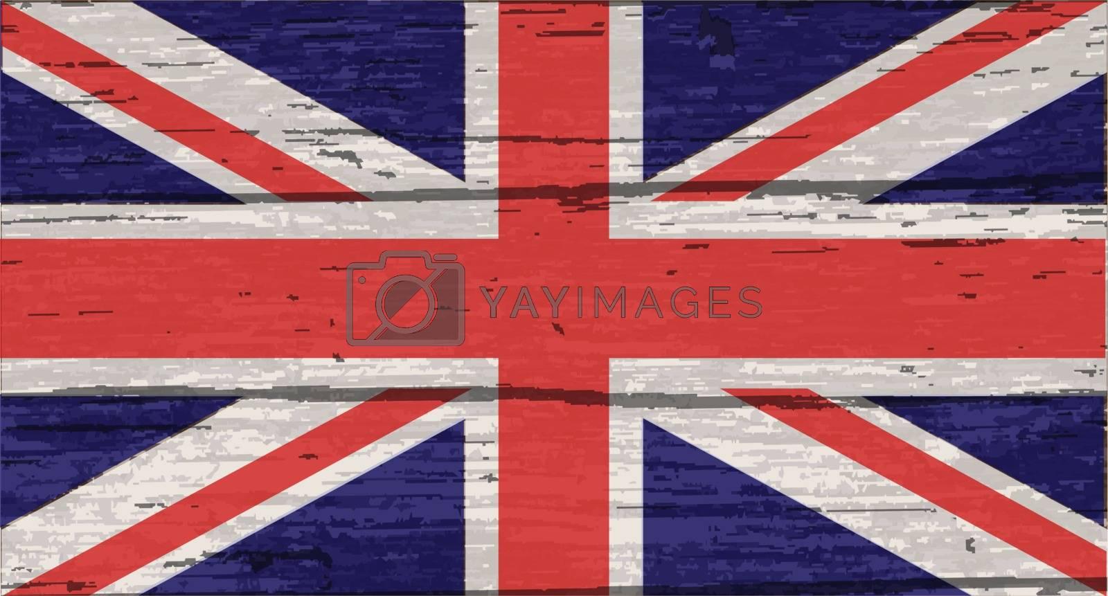 United Kingdom Flag the Union Jack on old timber